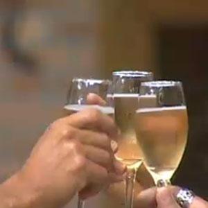 Daniel, Lizzi e Abreu brindam antes da grande final de A Fazenda 3 (21/12/2010)