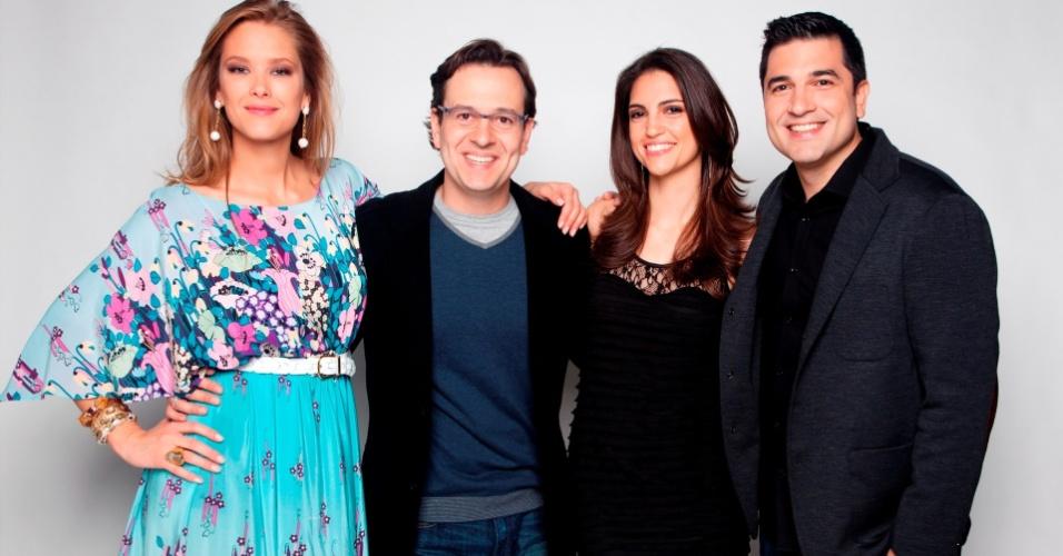 Giane Albertoni (à esq.), Celso Zucatelli, Cris Flores e Edu Guedes (à dir.) apresentadores do
