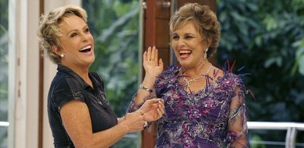 Ana Maria Braga e Irene Ravache durante gravação de