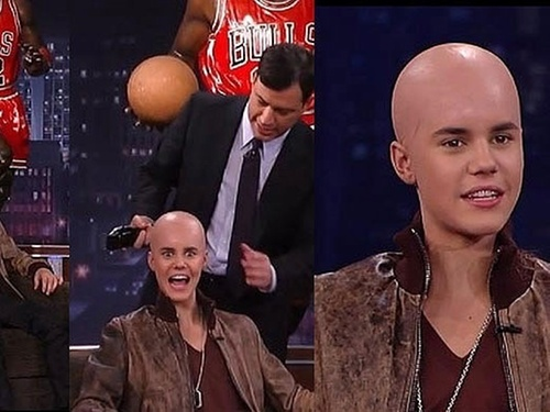 "Justin Bieber aparece careca no programa ""Jimmy Kimmel Live!"", do canal ABC (11/2/2011)"