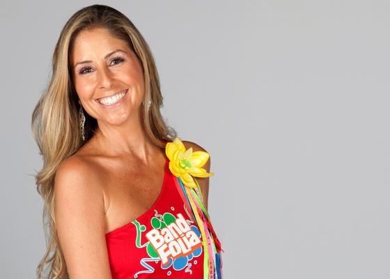 A apresentadora Patrícia Maldonado em imagem de divulgação do Band Folia (2011)