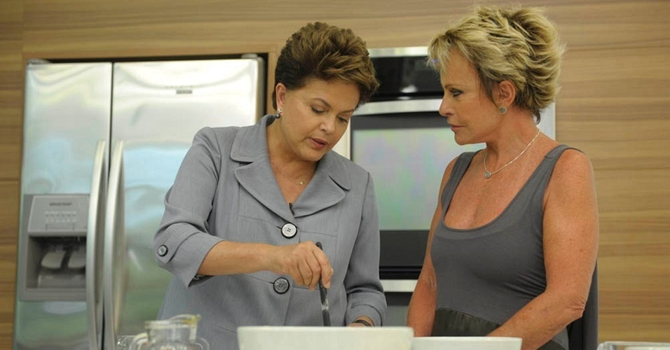 Ana Maria Braga recebe Dilma Rousseff no