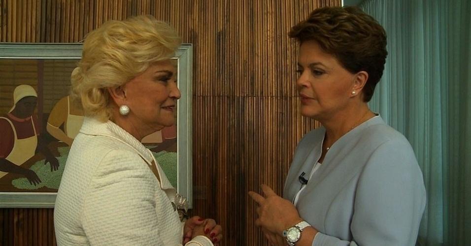 Hebe entrevista a presidente Dilma Rousseff, no Palácio da Alvorada, em Brasília (28/2/2011)