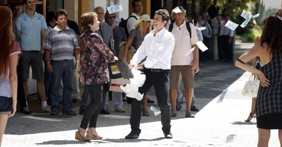 Nívea Maria e Gabriel Braga Nunes gravam cenas de