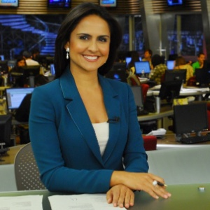 "Carla Cecato apresentava o ""Fala Brasil"""