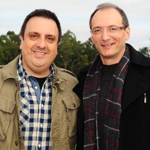 Rodrigo Carelli, diretor de A Fazenda, e o apresentador Britto Jr. (4/7/11)