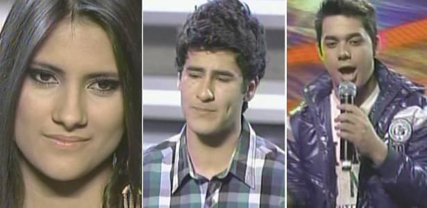 Os finalistas de Ídolos 2011, Hellen Caroline, Henrique Lemes e Higor Rocha durante apresentação desta terça-feira (5/7/2011)