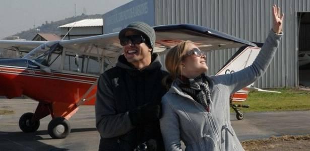Caio Castro e Angélica durante gravação do programa