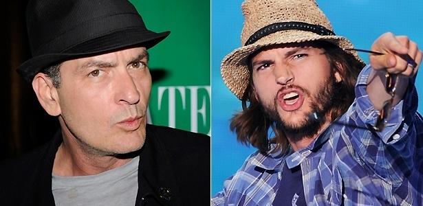 Os atores Charlie Sheen (esq.) e Ashton Kutcher (dir.)