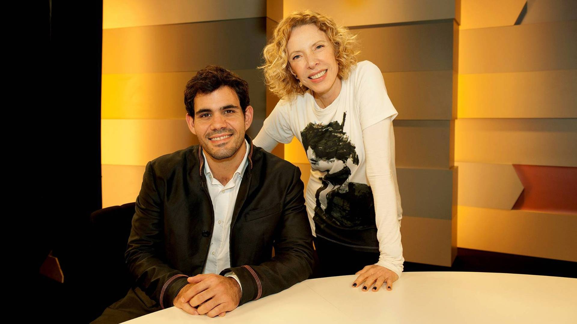Juliano Cazarré e Marília Gabriela durante gravação do