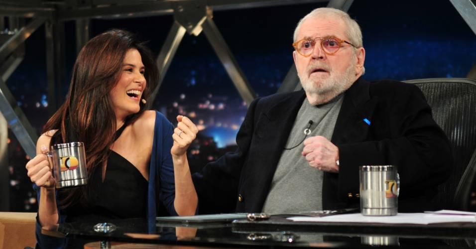 A atriz Luiza Mariani e o apresentador Jô Soares durante entrevista do
