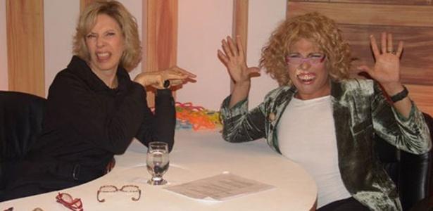 Marília Gabriela, a original, e a personagem Gabri Herpes frente a frente em entrevista para um quadro do