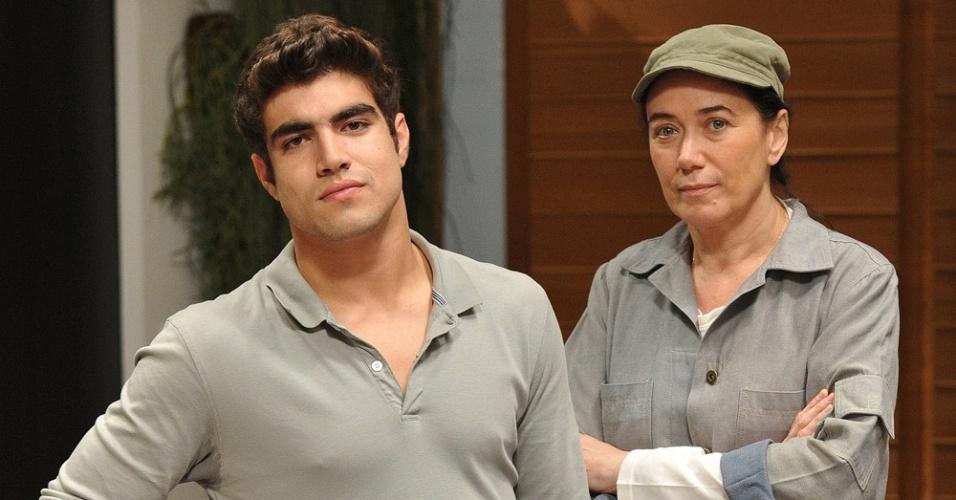Caio Castro e Lília Cabral em gravação de