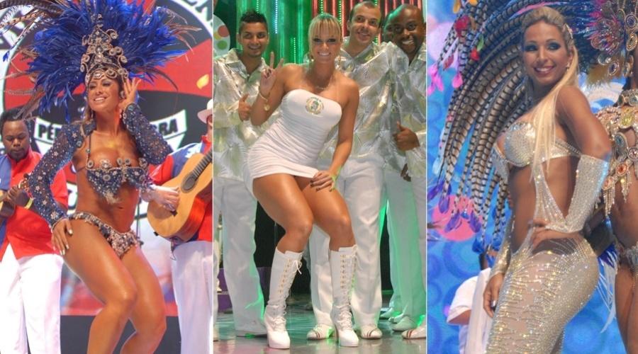 As musas Jaque Khury, Juju Salimeni e Valesca Popozuda gravam vinheta de Carnaval da Globo (18 e 19/10/2011)