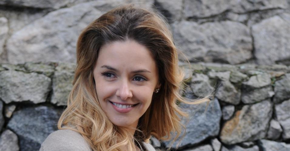 A atriz Bianca Rinaldi nos bastidores de gravação do especial