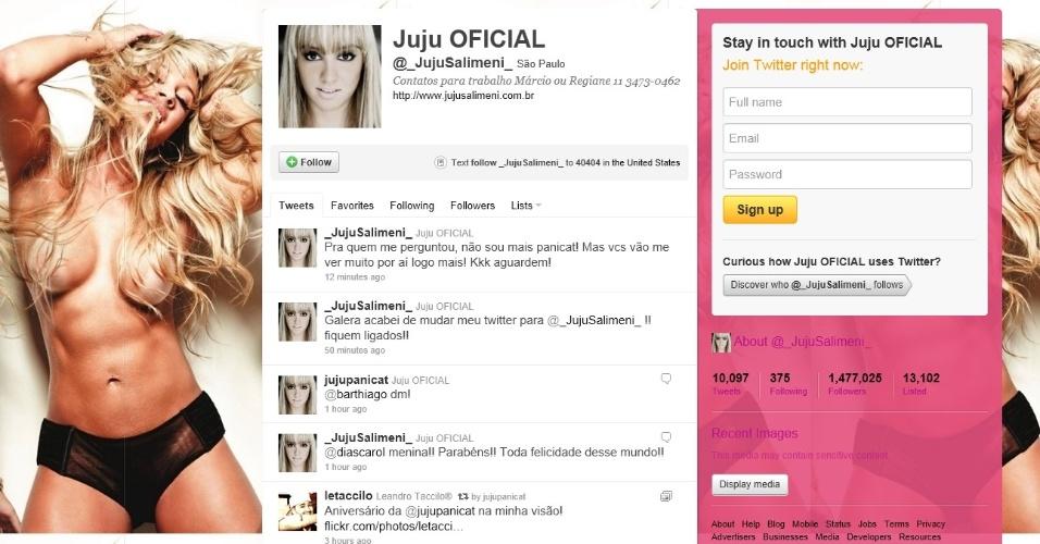 Nova página de Twitter de Juju Salimeni, em que ela anuncia que não é mais panicat (27/10/2011)