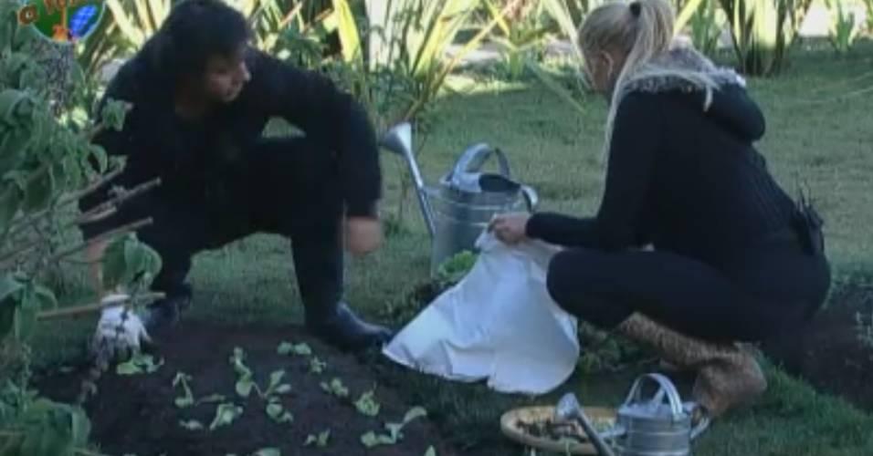 João Kléber replanta pés de alface enquanto Monique Evans recolhe as plantas destruídas (10/8/11)