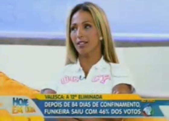 Valesca,a última eliminada, participa do programa Hoje em Dia, da Rede Record (10/10/11)