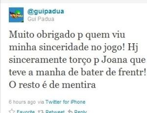 Post de Gui Pádua revelando que torce para que Joana vença o reality (11/10/11)