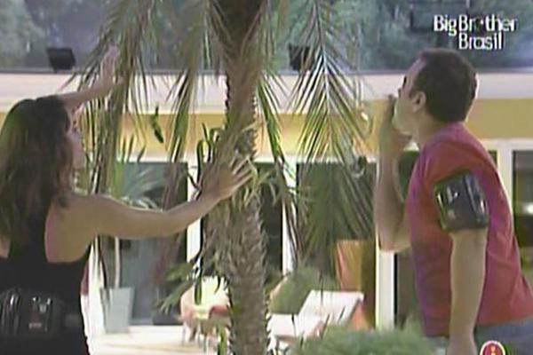 Maria acena enquanto Daniel manda beijo para o coqueiro da casa (29/3/11)